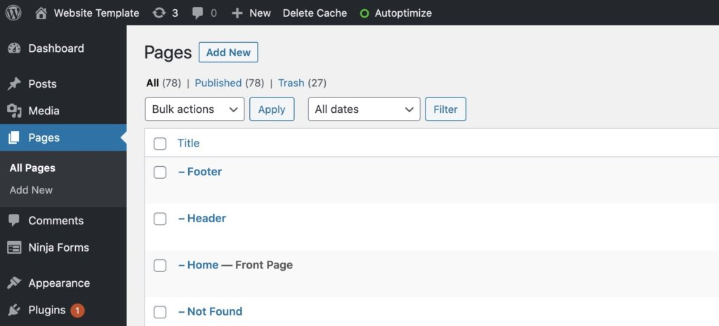 WordPress dashboard pages section. Editing header and footer.